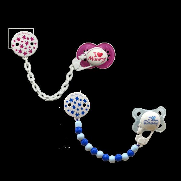 Schnullerkette (Junge / Mädchen) Sterne Pink Blau