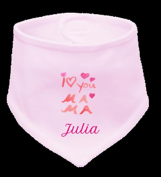 """Halstuch mit Namen """"I love Mama"""" rosa Mädchen"""
