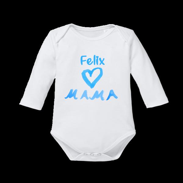 """Baby Body mit Namen """"I love Mama"""" (Junge) Langarm von Schnullireich"""