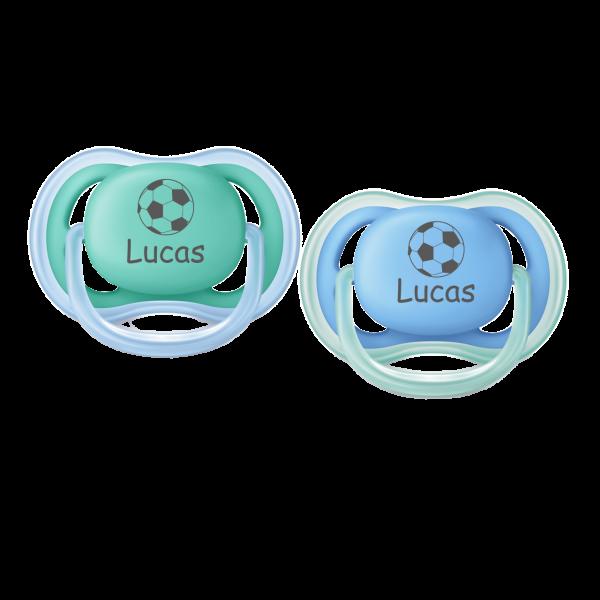 AVENT Schnuller mit Namen Lucas + Wunschmotiv Fussball Gr. 2 6-18 Monate Junge