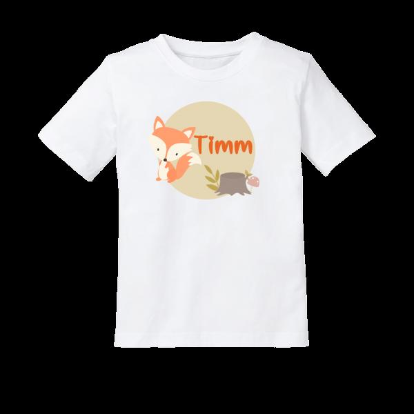 Kinder T-Shirt mit Namen und Fuchs bedruckt (Mädchen / Junge) 2-8 Jahre by Schnullireich