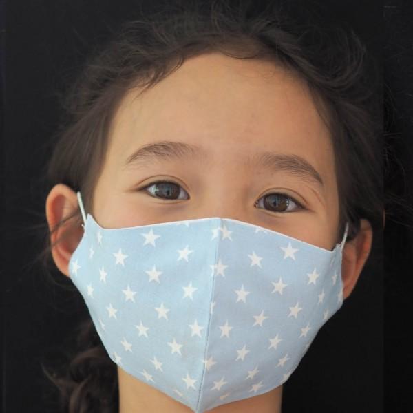 Kinder Behelfs-Mundschutz für Kinder (Junge / Blaue Punkte) Personalisierbar Schnullireich Kleine-Helden-Maske