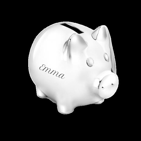Versilbertes Sparschwein mit Gravur des Namens (Taufgeschenk / Geburtsgeschenk)