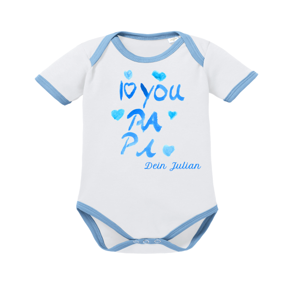 Baby Body mit Namen und Motiv I love Papa blau weiß kurzarm Junge