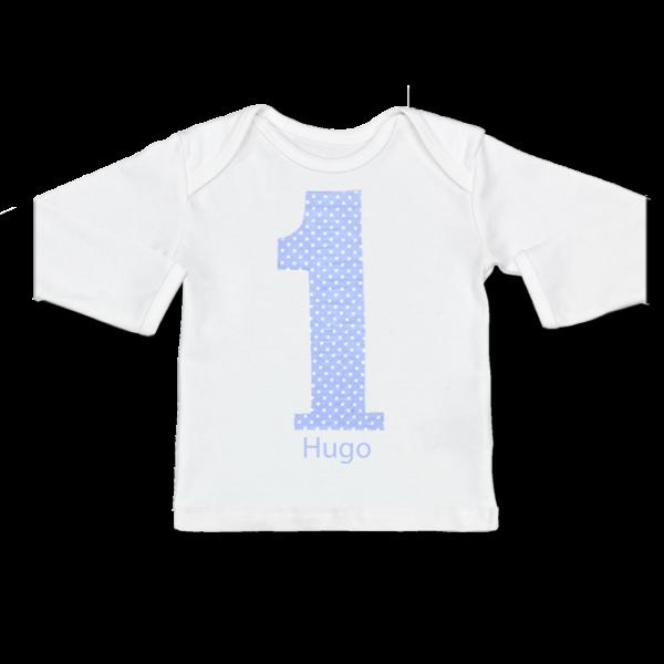 Personalisiertes Baby Shirt mit Namen Erster Geburtstag (Junge) Hellblau Langarm