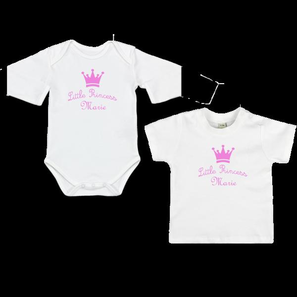 """Baby Body oder T-Shirt mit Namen und Spruch """"Little Princess"""" (Mädchen)"""
