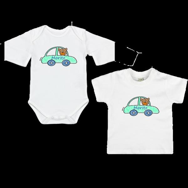 Baby Body oder T-Shirt  mit Namen Auto