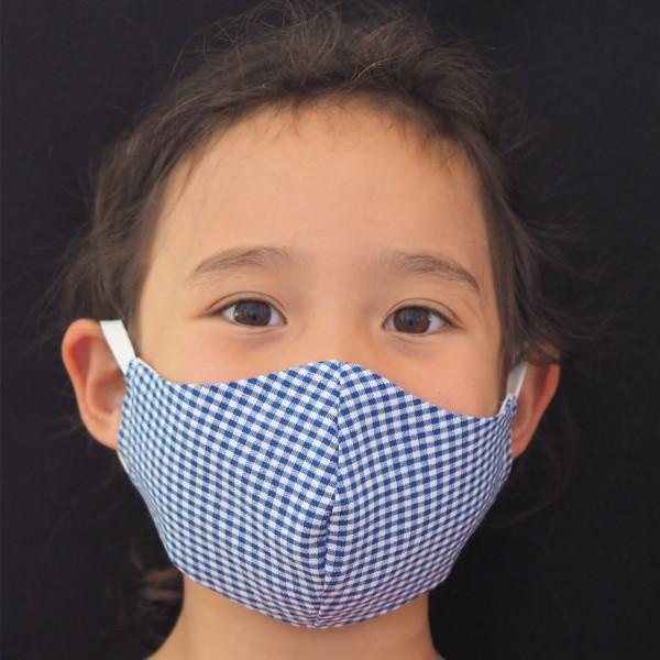 Behelfs-Schutzmaske für Kinder 6-9 Jahre Blau Vichy -Kleine Helden Maske Schnullireich