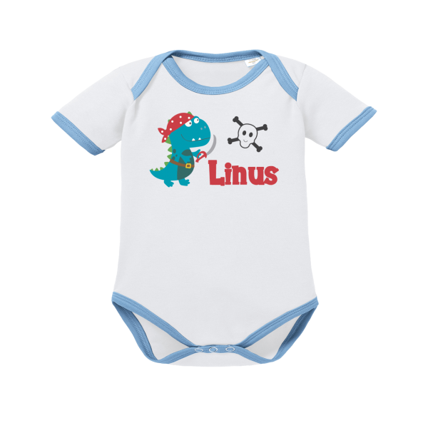 Baby Body mit Namen Piraten-Dino (Junge)