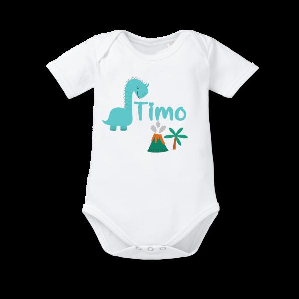Baby Body mit Namen + Dino bedruckt (Junge) Geburtsgeschenk von Schnullireich
