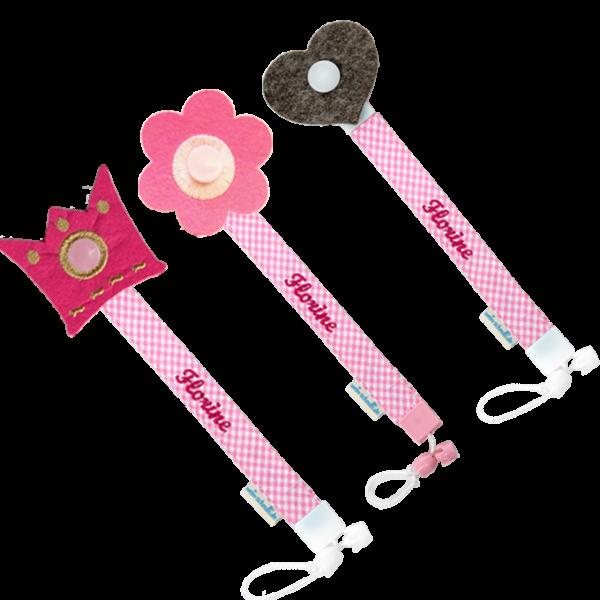 Schnullerband mit Namen Stick (Mädchen) Rosa Blume Herz Krone