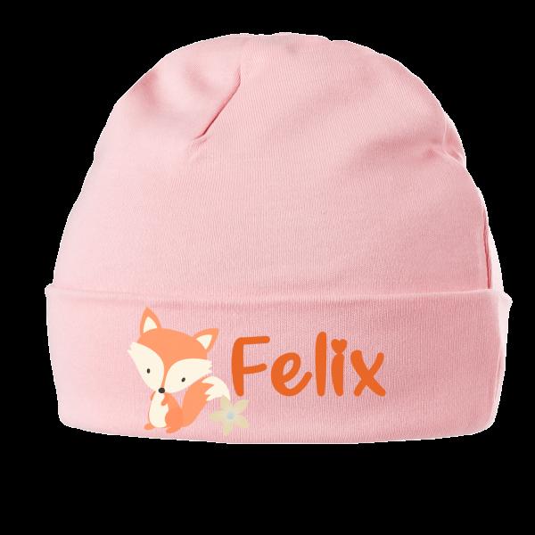 Babymütze mit Namen Fuchs (Mädchen / Junge) 0-6 / 6-18 Monate