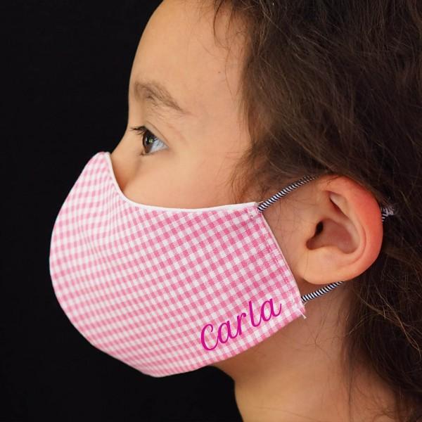 Behelfs-Schutzmasken für Kinder mit Namen - Kleine Helden Maske Vichy (Mädchen)