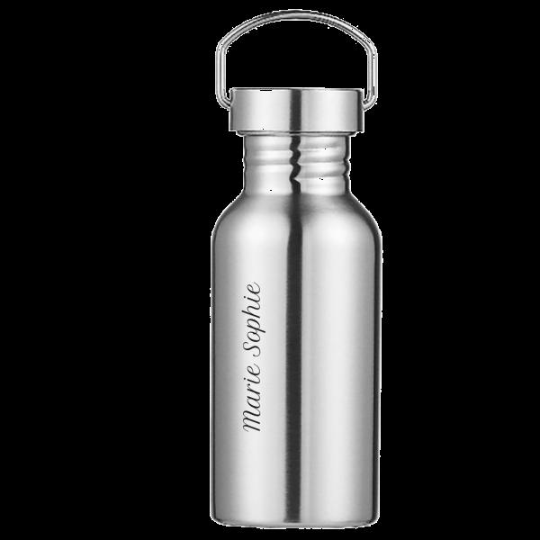 Schnullireich Edelstahl Trinkflasche mit Namen graviert 500 ml Schule / Kindergarten