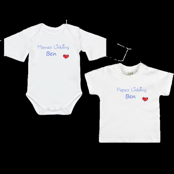 """Baby Body oder T-Shirt mit Namen + Spruch """"Papas Liebling"""" (Junge)"""