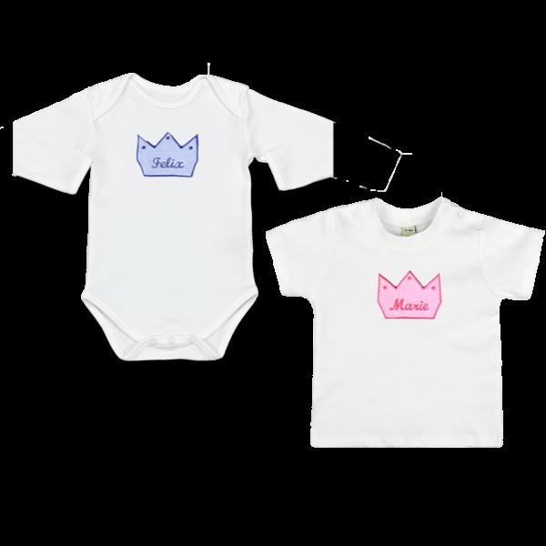 Baby Body oder T-Shirt mit Namen Krone (Junge / Mädchen)
