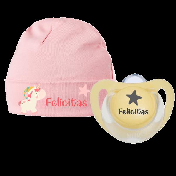 Babymütze mit Namen + 1 x NUK Schnuller mit Name Winter Einhorn (Mädchen)
