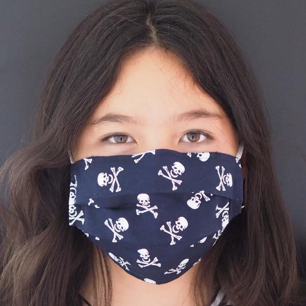 Behelfs-Mundschutz Pirat Dunkelblau (Teenie ab 10 Jahre / Erwachsene)