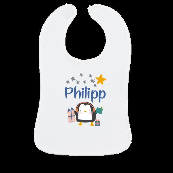 Lätzchen mit Name bedruckt - Pinguin
