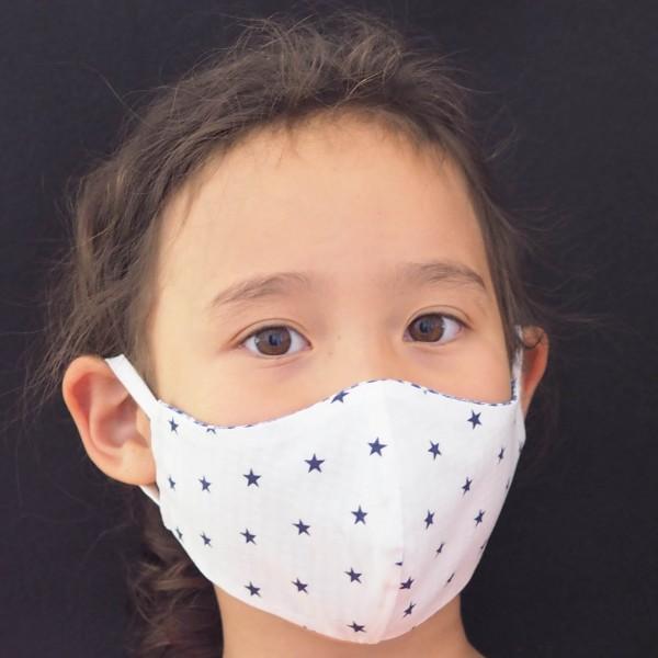 Behelfs-Mundschutz für Kinder - Weiß Blaue Sterne (Junge / Mädchen)