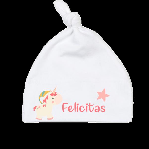 Babymütze mit Namen Winter Einhorn (Mädchen) 0-6 / 6-18 Monate