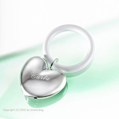 Personalsierbare Babyrasse Silber mit Namen graviert Taufe / Geburt  Geschenkl
