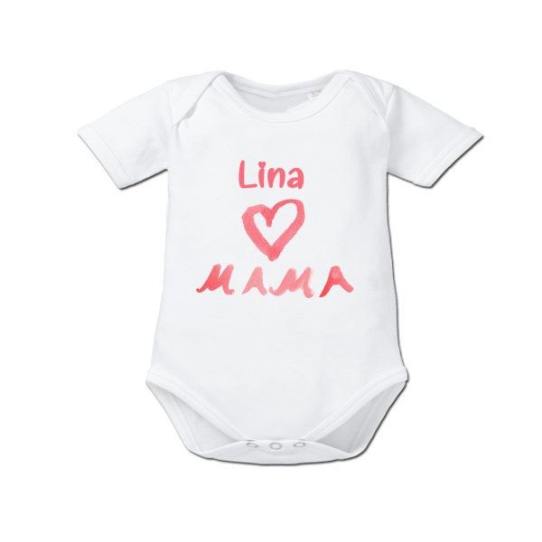 Baby Body mit Namen I Love Mama (Mädchen) Weiß von Schnullireich