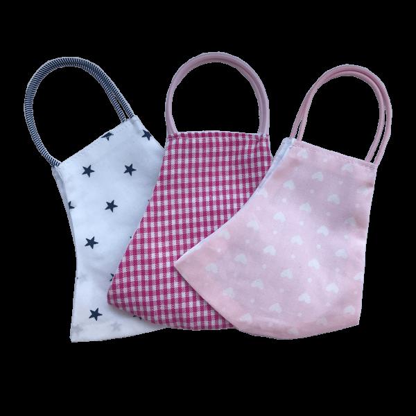 Behelfs-Schutzmasken für Kinder 6-9 Jahre Mädchen 3er Set