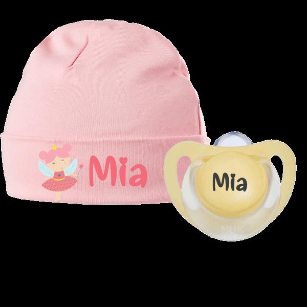 Babymütze mit Namen bedruckt und Schnuller mit Namen im Geburtsgeschenk - Kleine Fee (Mädchen) by Schnullireich