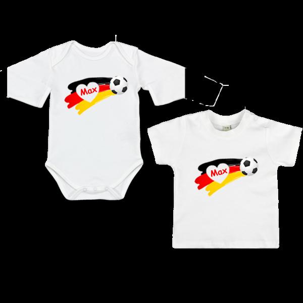 Personalisierter Babybody oder T-Shirt mit Namen und Fußball (Deutschland) Junge