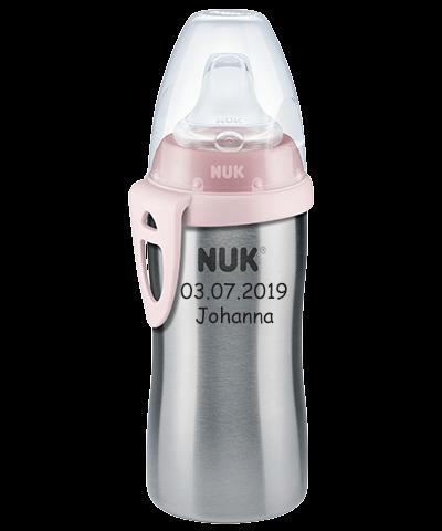 NUK Trinkflasche mit Namen Kleinkind ab 12 Monate Edelstahl Mädchen