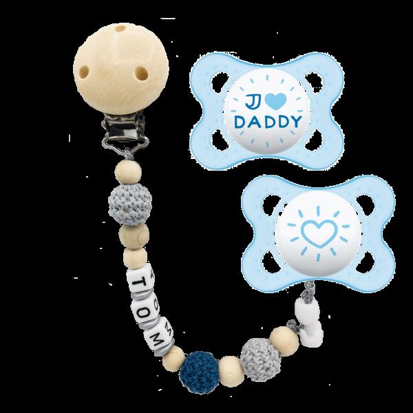 MAM Schnuller I Love Daddy + Schnullerkette mit Namen (Junge) Gr. 1 2-6 Monate