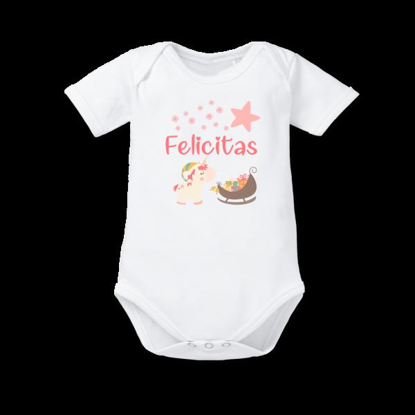 Baby Body mit Namen Einhorn Mädchen als Weihnachtsgeschenk von Schnullireich