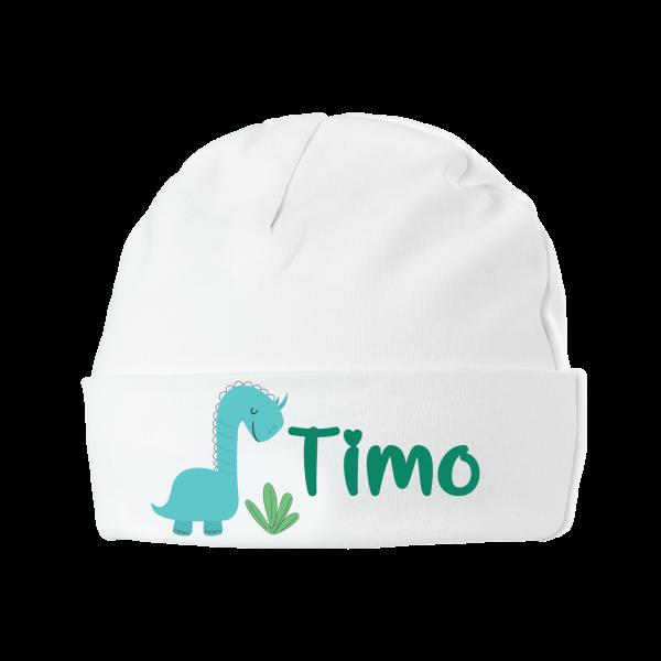 Babymütze mit Namen bedruckt - Dino (Junge)