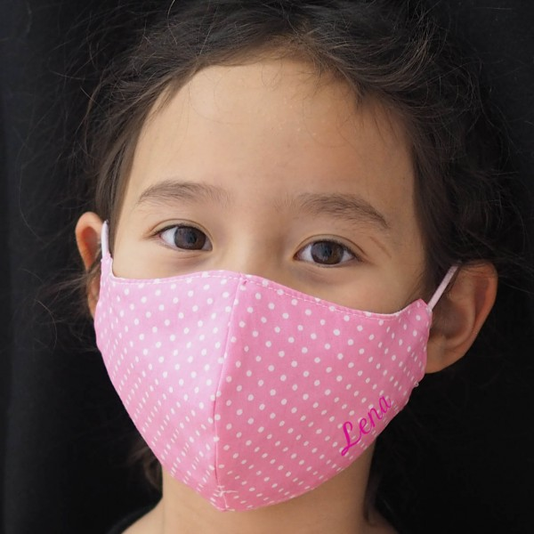 Schnullireich Kleine Helden Maske: Behelfs-Mund. & Nasen-Maske für Kinder (Mädchen / Rosa Punkte) Personalisierbar
