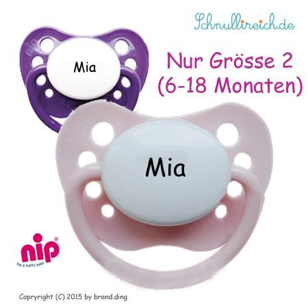 Schnuller mt Namen 2er Set (Rosa + Lila)