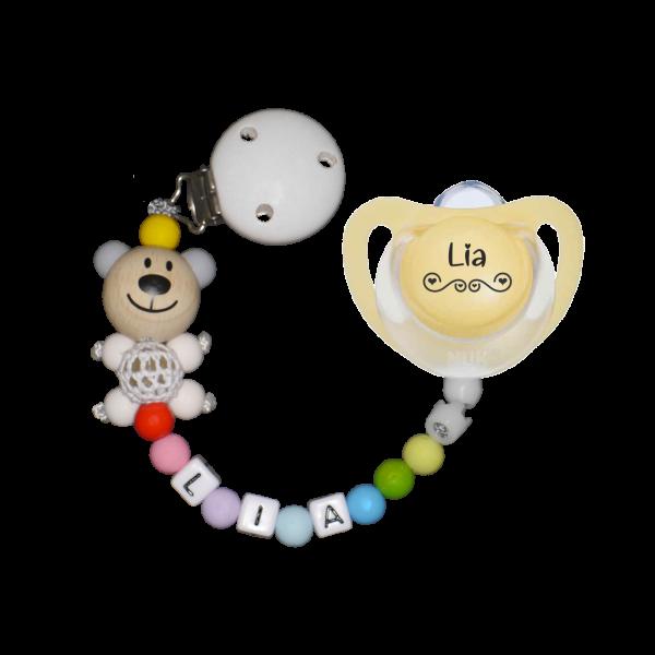 Geburtsgeschenk: NUK Schnuller mit Namen Love + Schnullerkette mit Namen Häkelbär im Set Junge / Mädchen (Kunststoff)