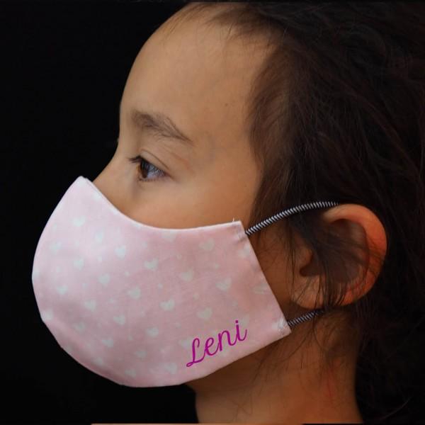 Behelfs-Schutzmasken für Kinder (6-9 Jahre) Rosa / Mädchen mit Namen