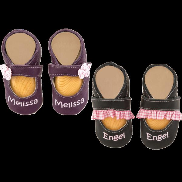 Krabbelschuhe mit Namen bestickt Sandale (Mädchen) Dunkelblau Lila