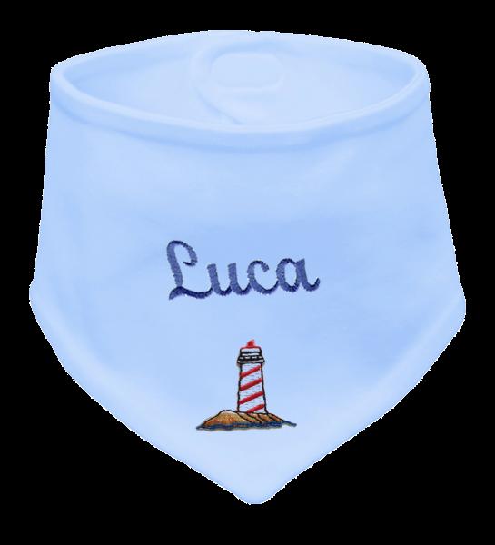 Baby Halstuch blau Stick mit Namen Leuchturm