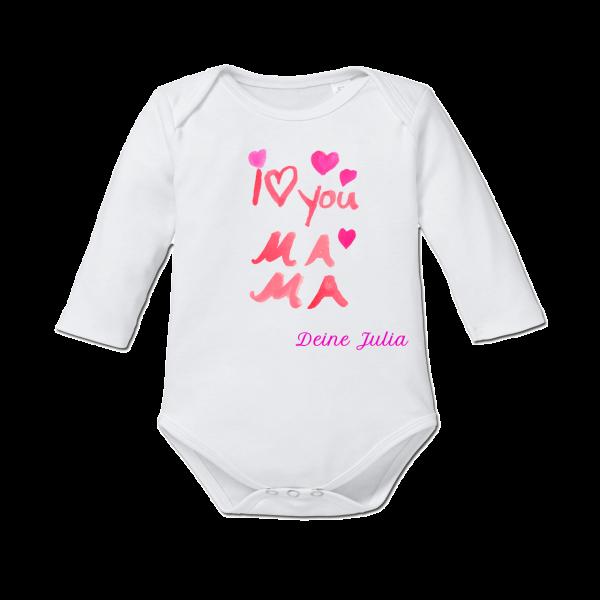 """Baby Body mit Namen """"I love you Mama"""" (Mädchen) Langarm von Schnullireich"""