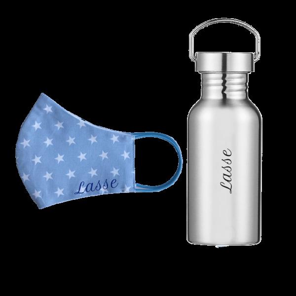 Sparset: Edelstahl Trinkflasche 500 ml + Behelfs-Mundschutz mit Namen (Junge)