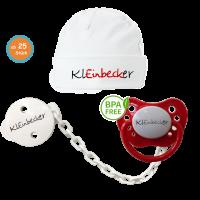 Babypaket mit Ihrem Logo (Schnuller, Schnullerkette, Babymütze)