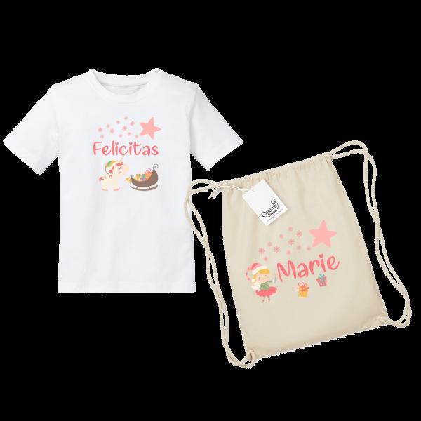 Kinder T-Shirt mit Namen / Turnbeutel mit Namen Weihnachten Einhorn bedruckt (Mädchen) 2-8 Jahre by Schnullireich