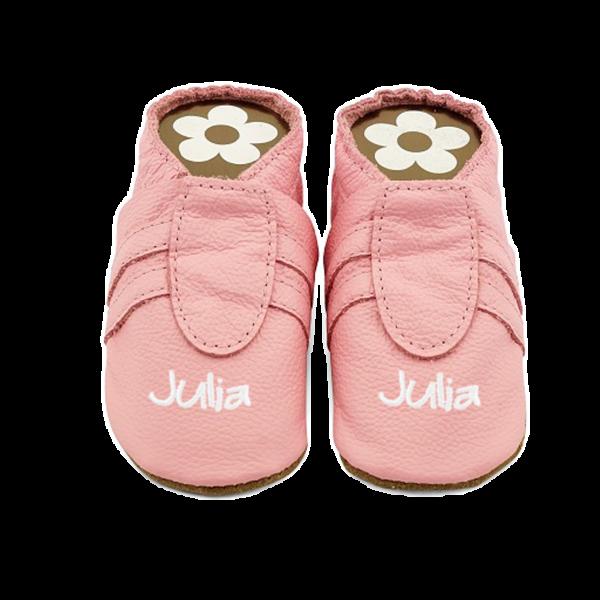 Krabbelschuhe mit Namen (Mädchen) Sneaker Rosa