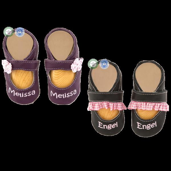 Krabbelschuhe mit Namen Sandale (Mädchen) Braun Lila