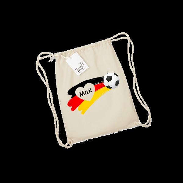 Personalisierbarer Turnbeutel / Kinderbeutel mit Namen bedruckt - Fußball Junge