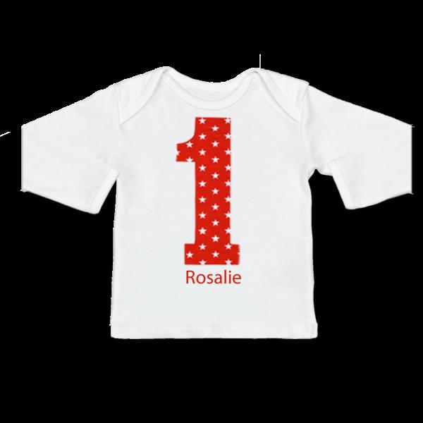 Personalisiertes Baby Shirt mit Namen Erster Geburtstag (Mädchen) Rot Langarm