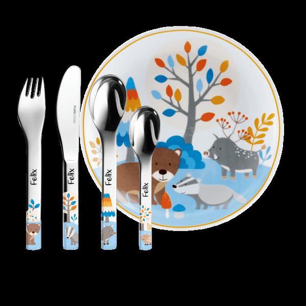 Puresigns Kinderbesteck Friends mit Gravur des Namens Herzschrift + Kinderteller (5-Teilig)