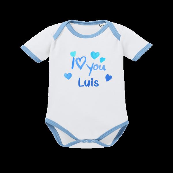Baby Body Mit Namen und I Love You Junge (Blau) von Schnullireich